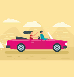 cabriolet concept banner flat style vector image