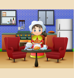 cartoon cute little girl in chefs hat holding a f vector image