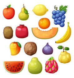 cartoon fruits set isolated on white background vector image