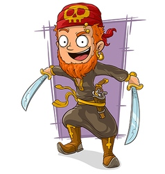Cartoon pirate with swords and pistol vector image