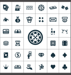 casino icons universal set for web and ui vector image