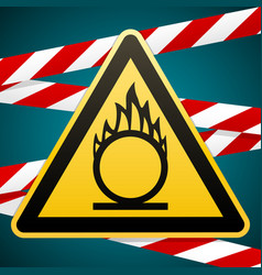 Caution oxidizer safety sign yellow triangle vector