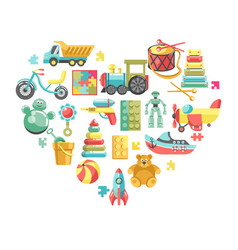 childish toys isolated objects in heart vector image
