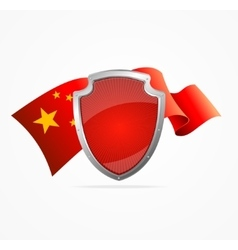 China Flag and Shield vector image