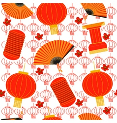 Chinese red lanterns seamless pattern background vector