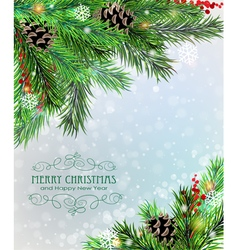 Christmas tree branches with cones and berries vector