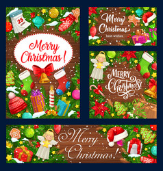 christmas wreath with xmas gift and bell banners vector image
