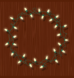 circle frame of glowing white christmas lights vector image