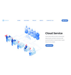 cloud service landing page template vector image