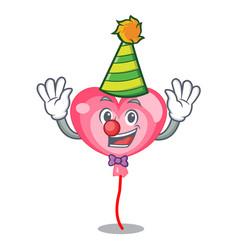 clown ballon heart mascot cartoon vector image