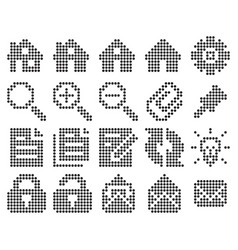 collection dotted icons user interface set 1 vector image