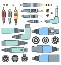 color outline various audio connectors and inputs vector image