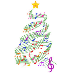 Colorful music christmas tree vector