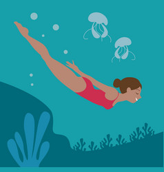 Couple snorkeling over coral reef vector