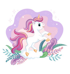 Cute cartoon unicorn with magic plants vector