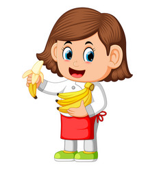 cute girl dressed like a chef holding bananas vector image