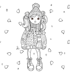 cute girl in winter hat vector image