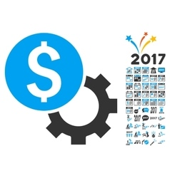 Development Cost Icon With 2017 Year Bonus Symbols vector
