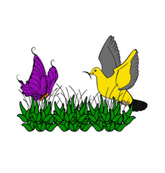 drawing butterfly and bird with grass artwork vector image