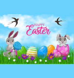 easter bunnies with eggs and flowers vector image