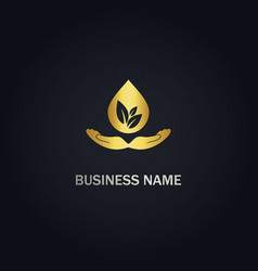 Eco droplet hand care gold logo vector