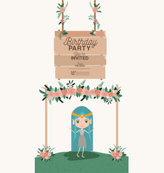 fairy with wooden label invitation card vector image