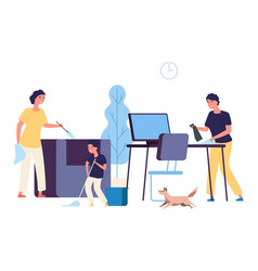 family cleaning apartment parents kid wasing vector image