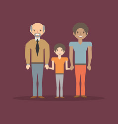 family dad son and grandfather cheerful vector image