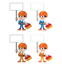 figures with blank sign vector image