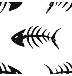 fish bones seamless pattern fish skeleton doodle vector image