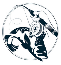 Fishing rod in fisherman hand and fish symbol vector