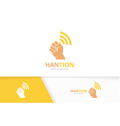 Fist and wifi logo combination hand vector