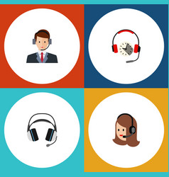 Flat telemarketing set of hotline headphone vector