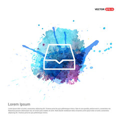 Folder archive icon - watercolor background vector