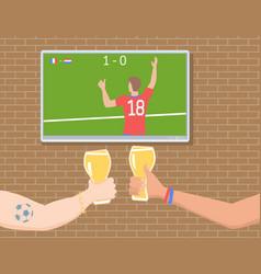 Football fans in the bar vector