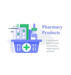 full pharmacy basket order medical product vector image