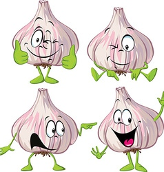 Garlic cartoon with hands and legs standing vector