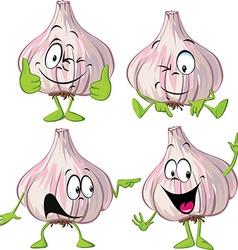 Garlic cartoon with hands and legs standing vector