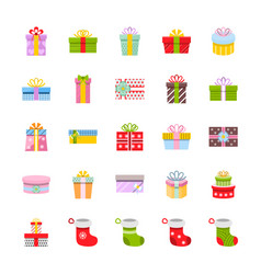 gift box and christmas socks icon set in flat vector image