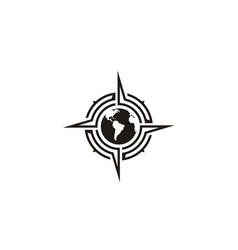Globe world compass north east west south logo vector