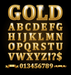 Gold alphabetical letters isolated on black vector