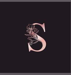 Gold rose flower letter s luxury logo elegant vector