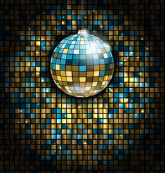 golden blue disco ball with light rays on mosaic vector image