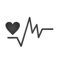 gray irregular heartbeat and heart icon heartbeat vector image