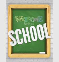 green chalkboard on a brick wall welcomes children vector image