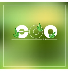 Green eco logo on blurred background vector image