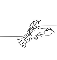 grilled lobster continuous line drawing vector image