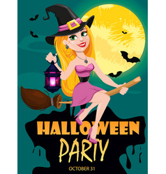 Halloween party invitation beautiful lady witch vector