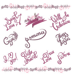 handwritten valentine s day greetings set custom vector image