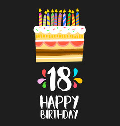Happy birthday cake card 18 eighteen year party vector
